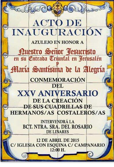 La hermandad de la borriquilla bendecir un retablo for Azulejos zapata en el algar